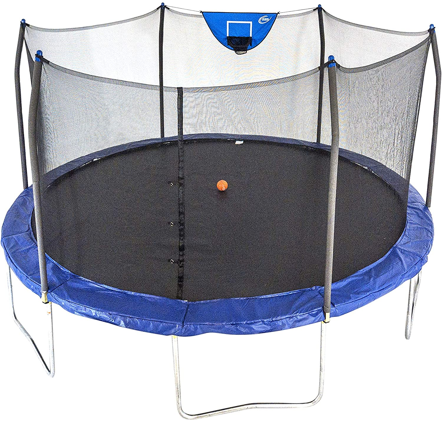 Skywalker Jump N' Dunk Basketball Enclosure Net Trampoline, 15-Feet