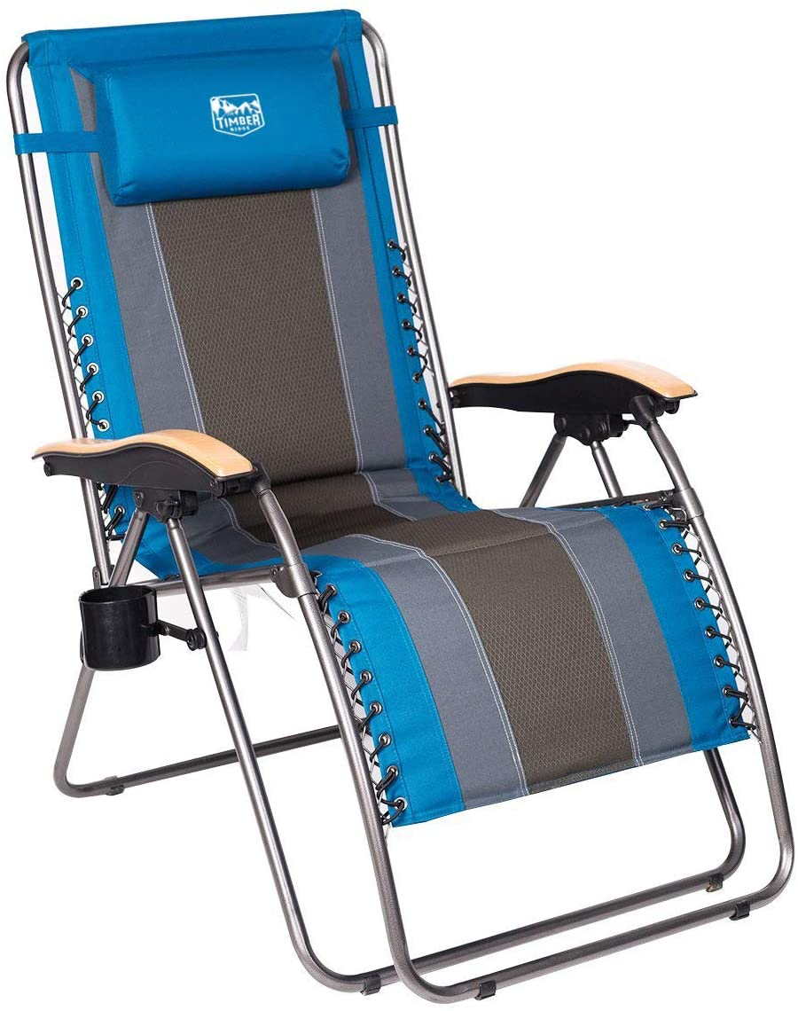 Timber Ridge Adjustable Folding Padded Zero Gravity Chair