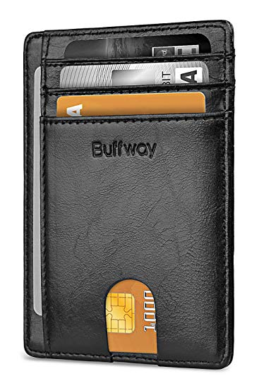 Buffway Slim RFID Blocking Leather Wallet