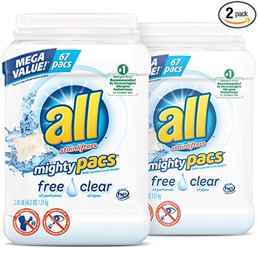 all Mighty Pacs Laundry Detergent, 2-Pack
