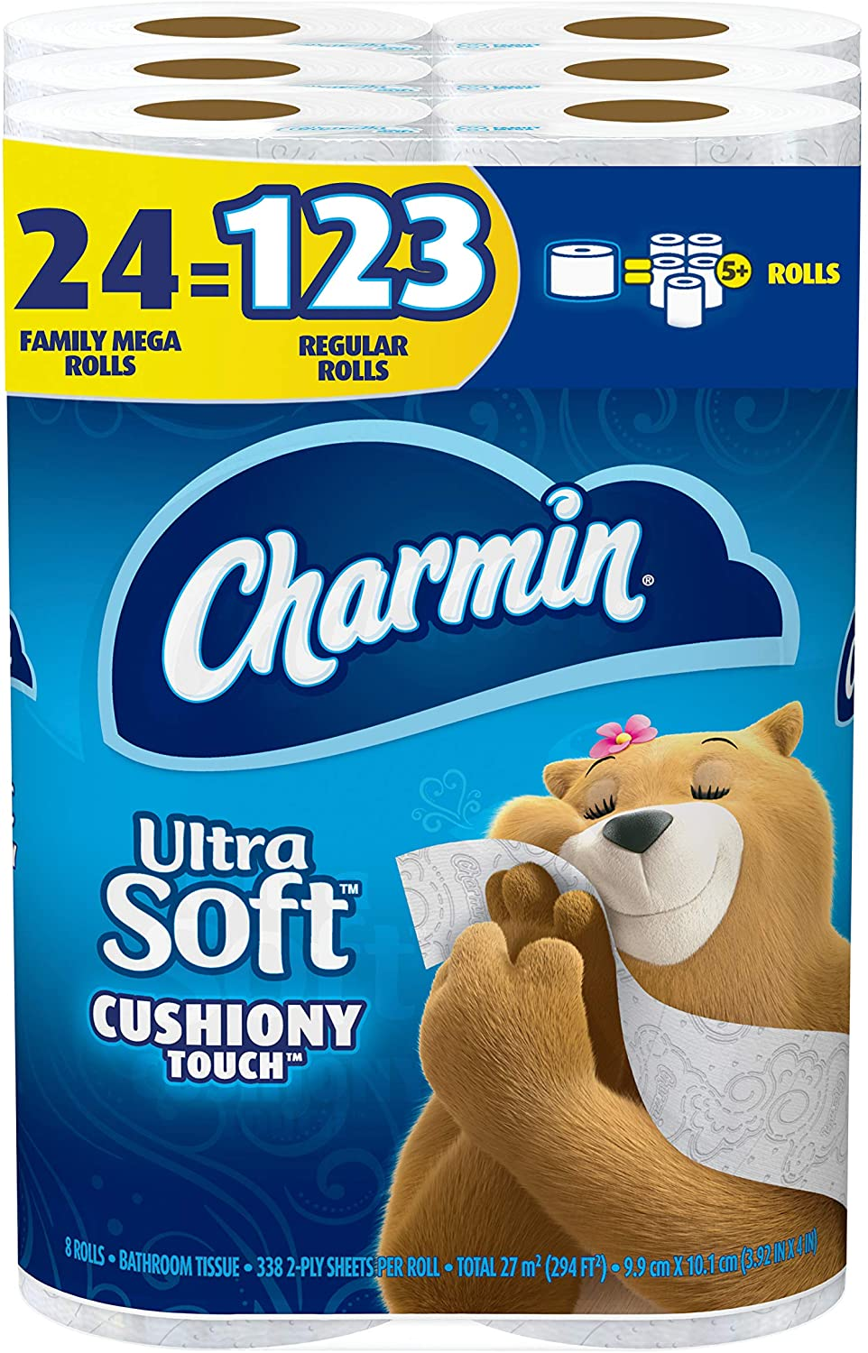 Charmin Ultra Soft Cushiony Touch Toilet Paper, 123-Rolls