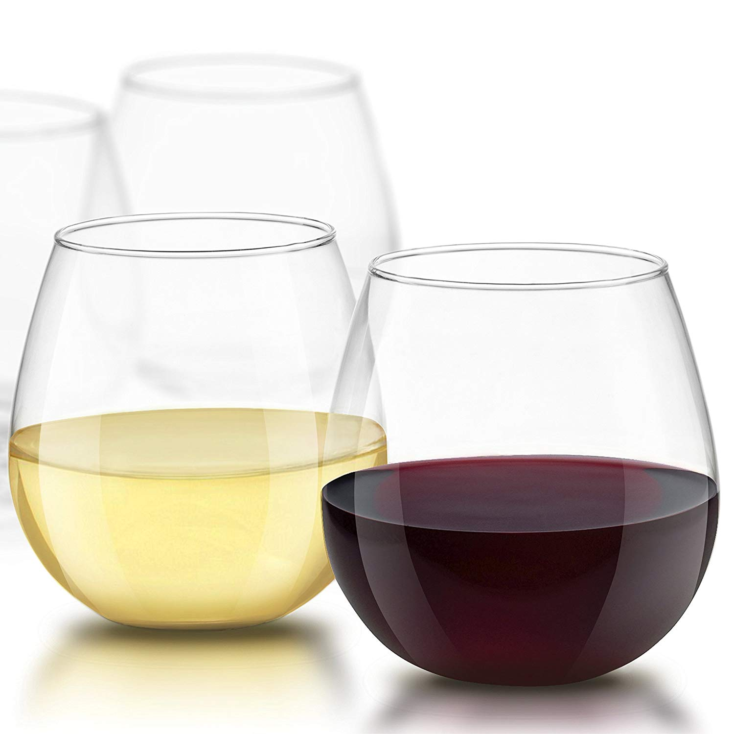 JoyJolt Spirits Stemless Wine Glasses 15-oz, Set Of 4