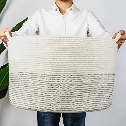 InDressMe Woven Handle Cotton Rope Thread Laundry Basket