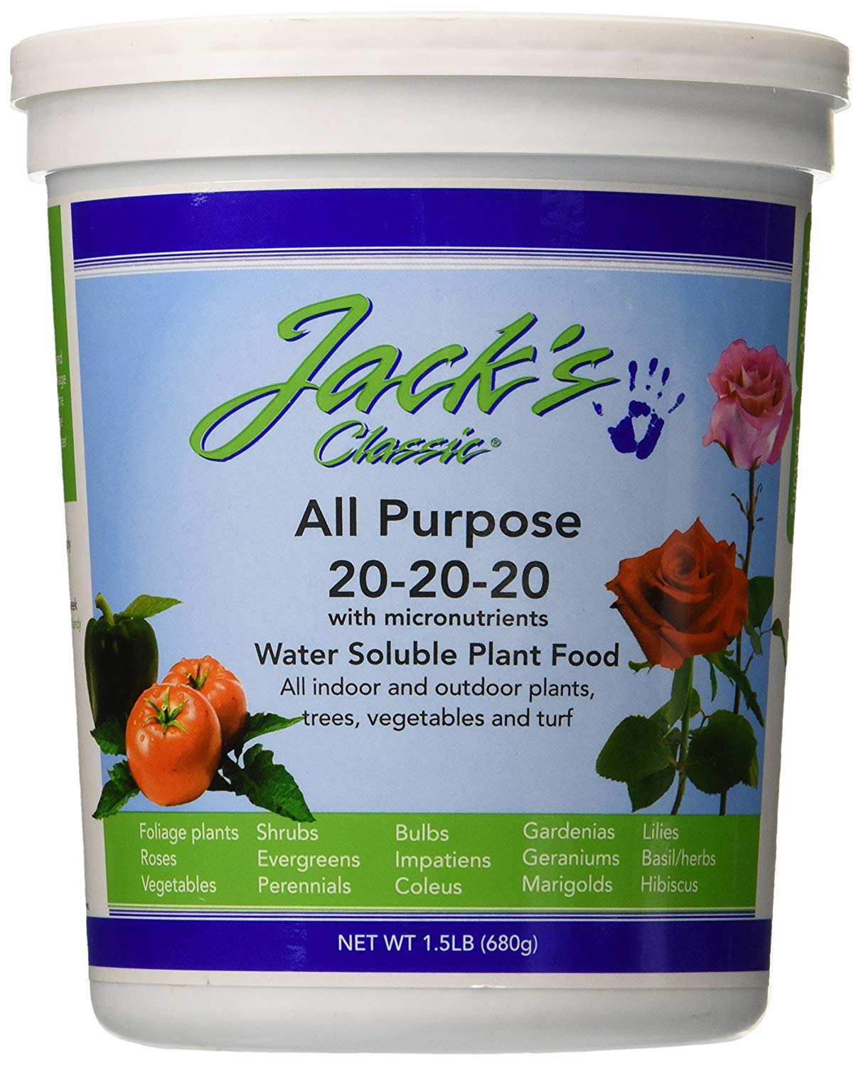J R Peters 52024 Jack's Classic No.1.5 20-20-20 All-Purpose Garden Fertilizer