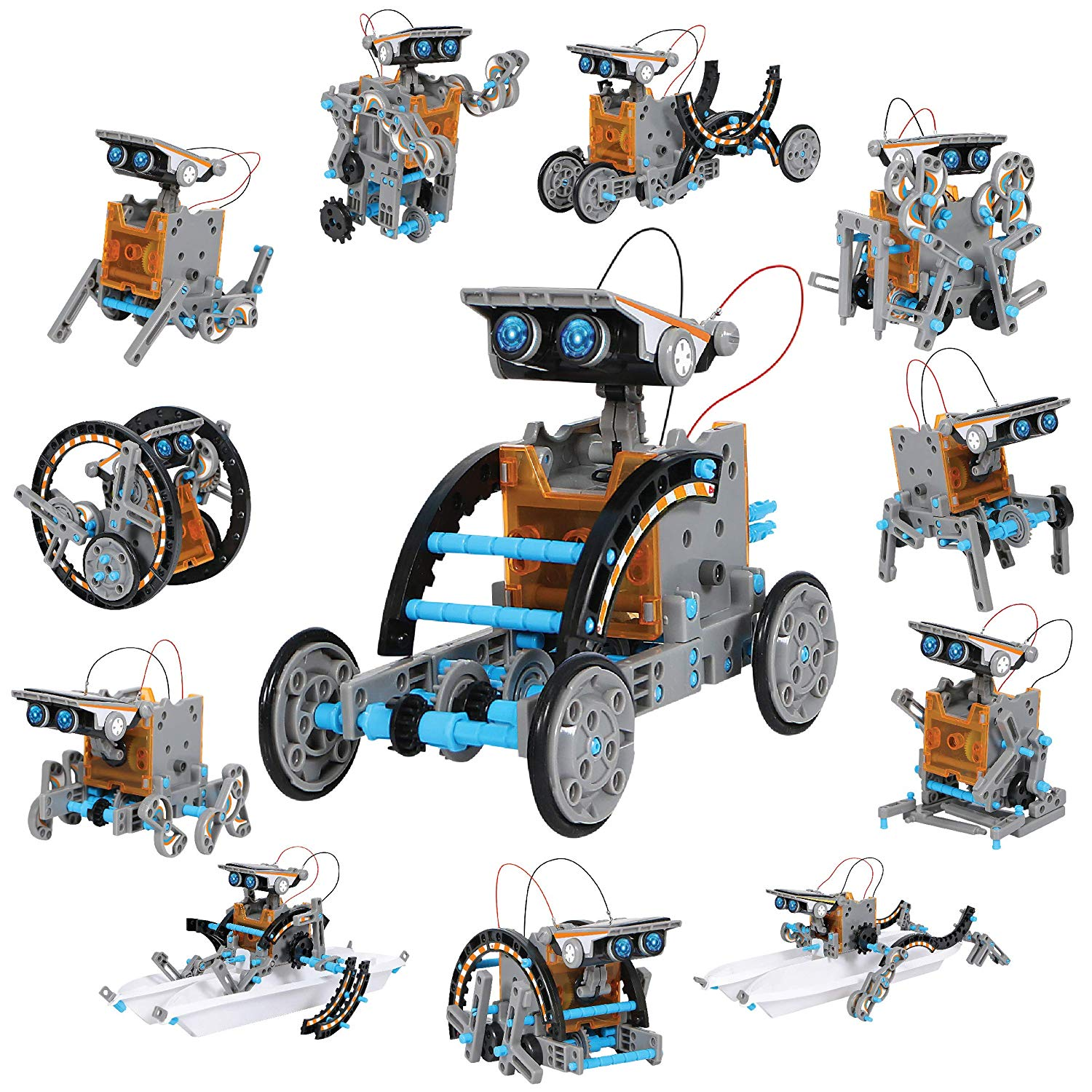Discovery Kids Mindblown STEM 12-In-1 Solar Robot Kit, 190-Piece