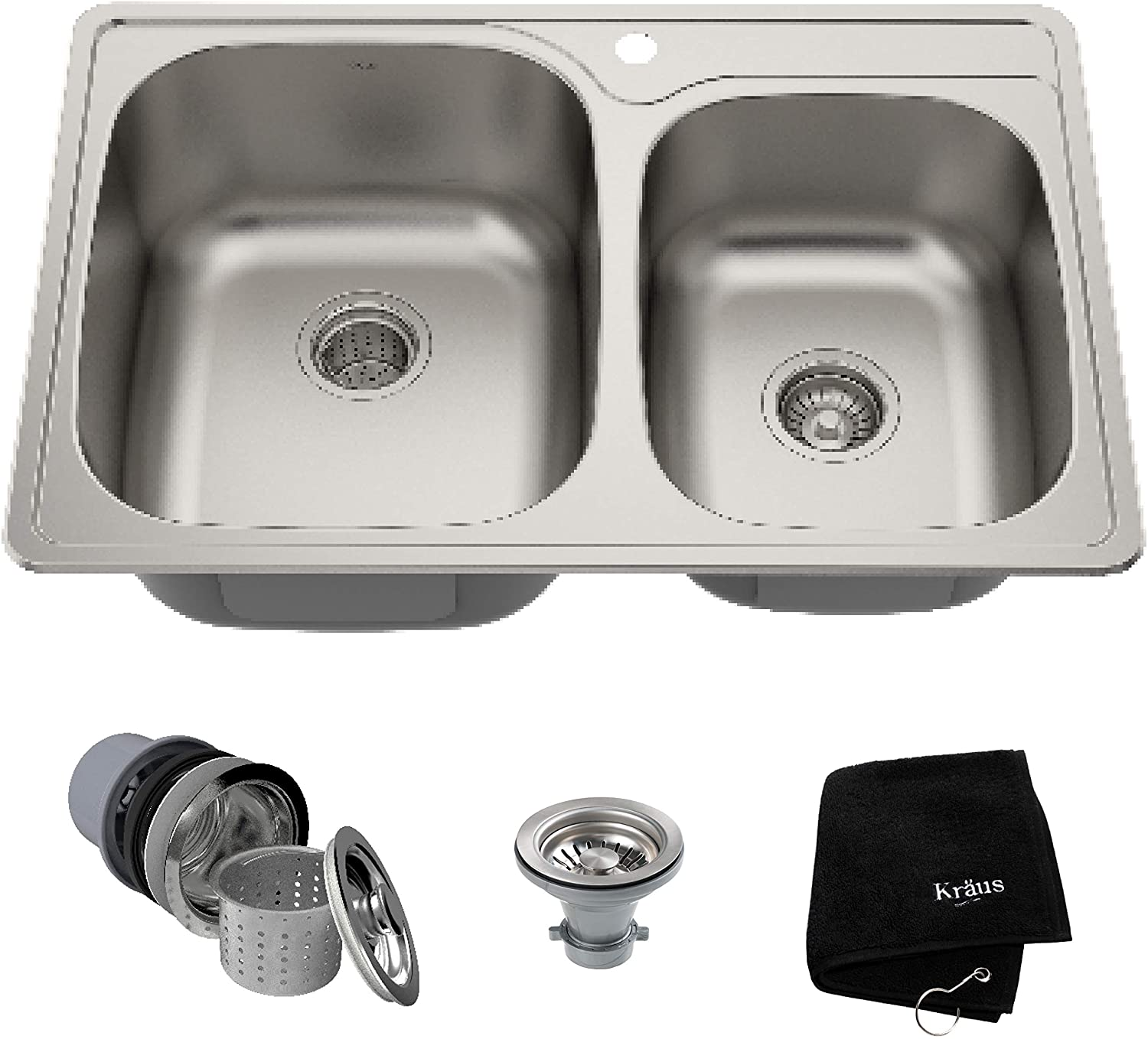 Kraus KTM32 Topmount Double Bowl Kitchen Sink, 33-Inch