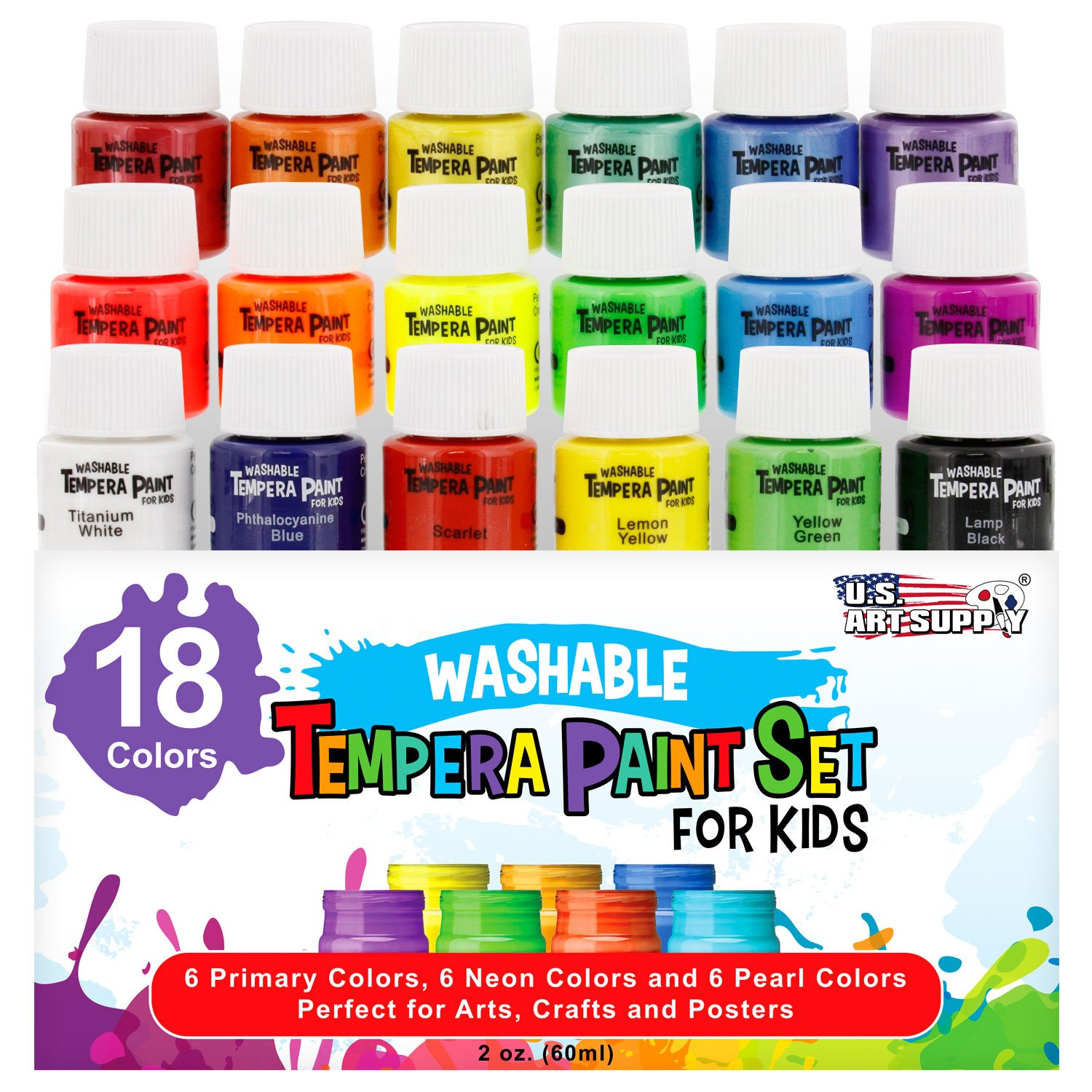 U.S. Art Supply Washable Tempera Paint For Kids, 18-Piece