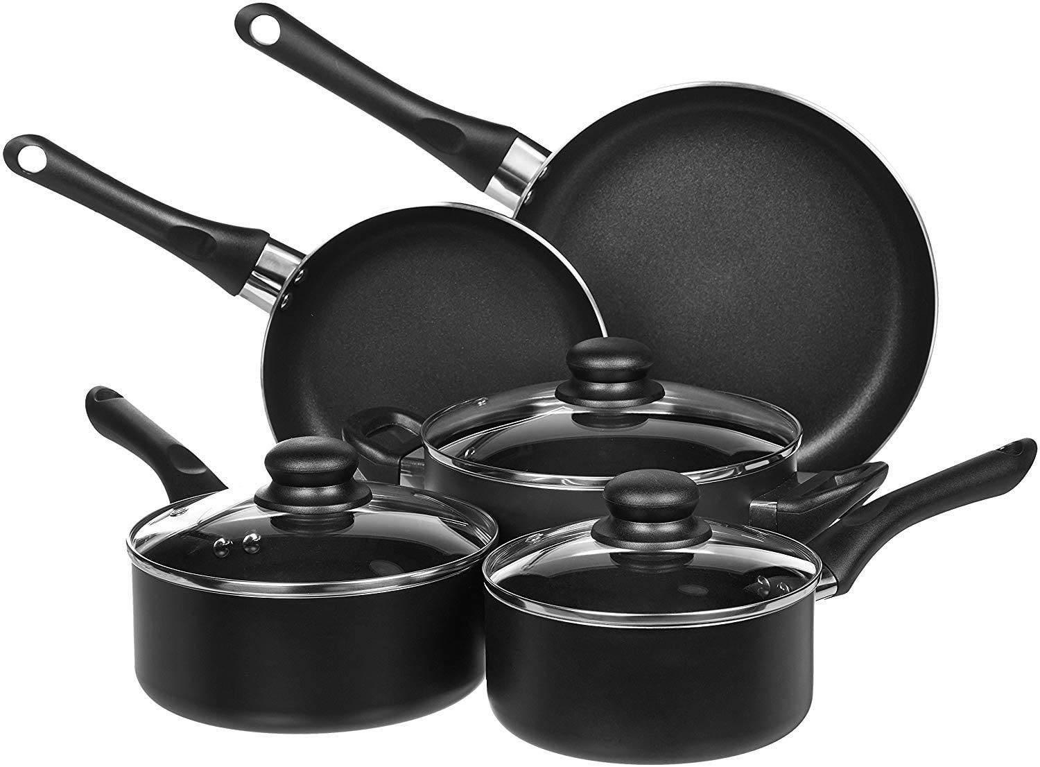 AmazonBasics Nonstick Pot & Cookware Set, 8-Piece