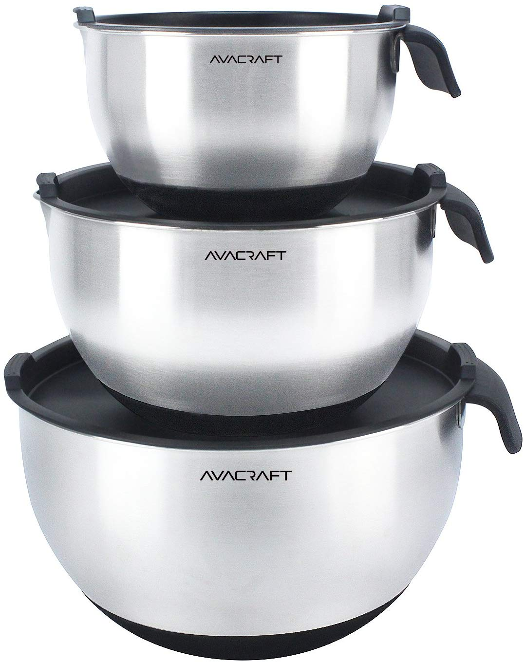 AVACRAFT Nonslip Silicone Base Stainless Steel Mixing Bowl Set, 3-Piece