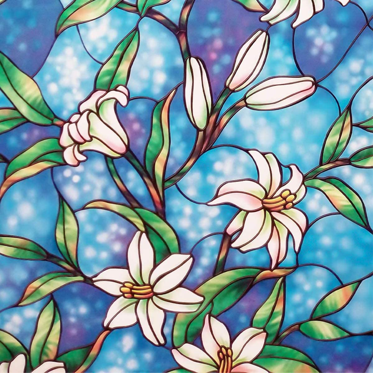 Coavas Frosted Floral Window Film, 18×79-Inch