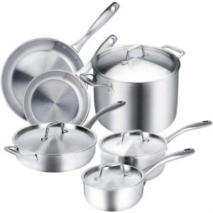Duxtop Whole-Clad Tri-Ply Stainless Steel Cookware, 10-Piece