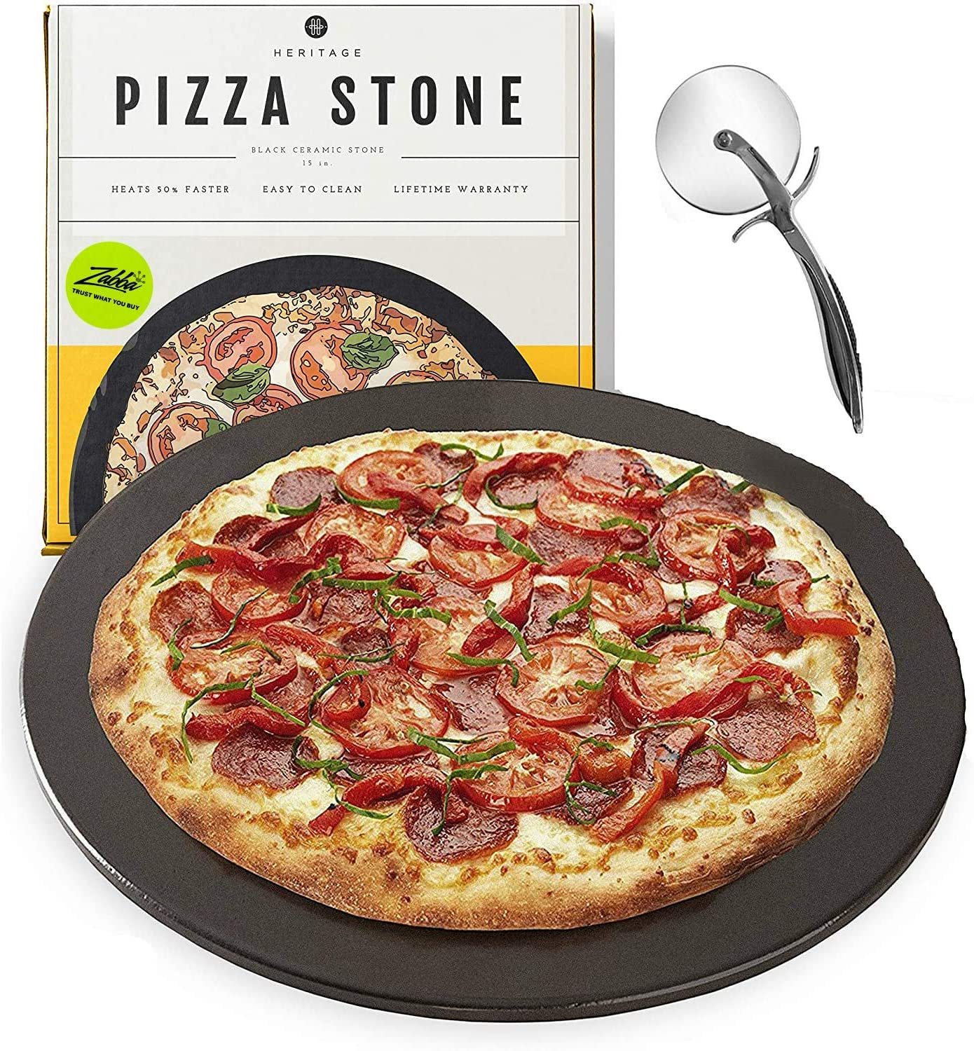 Heritage Products Non-Stain Ceramic Wheel Pizza Stone, 15-Inch