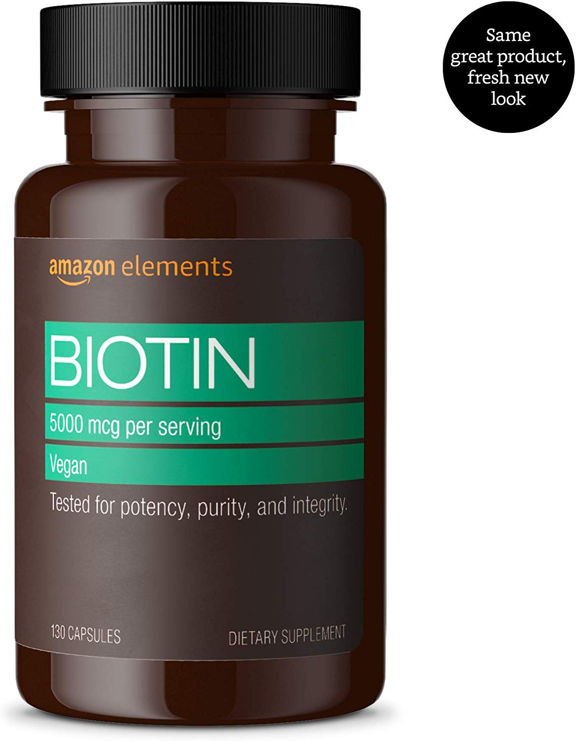 Amazon Elements Vegan Biotin, 5,000 mcg