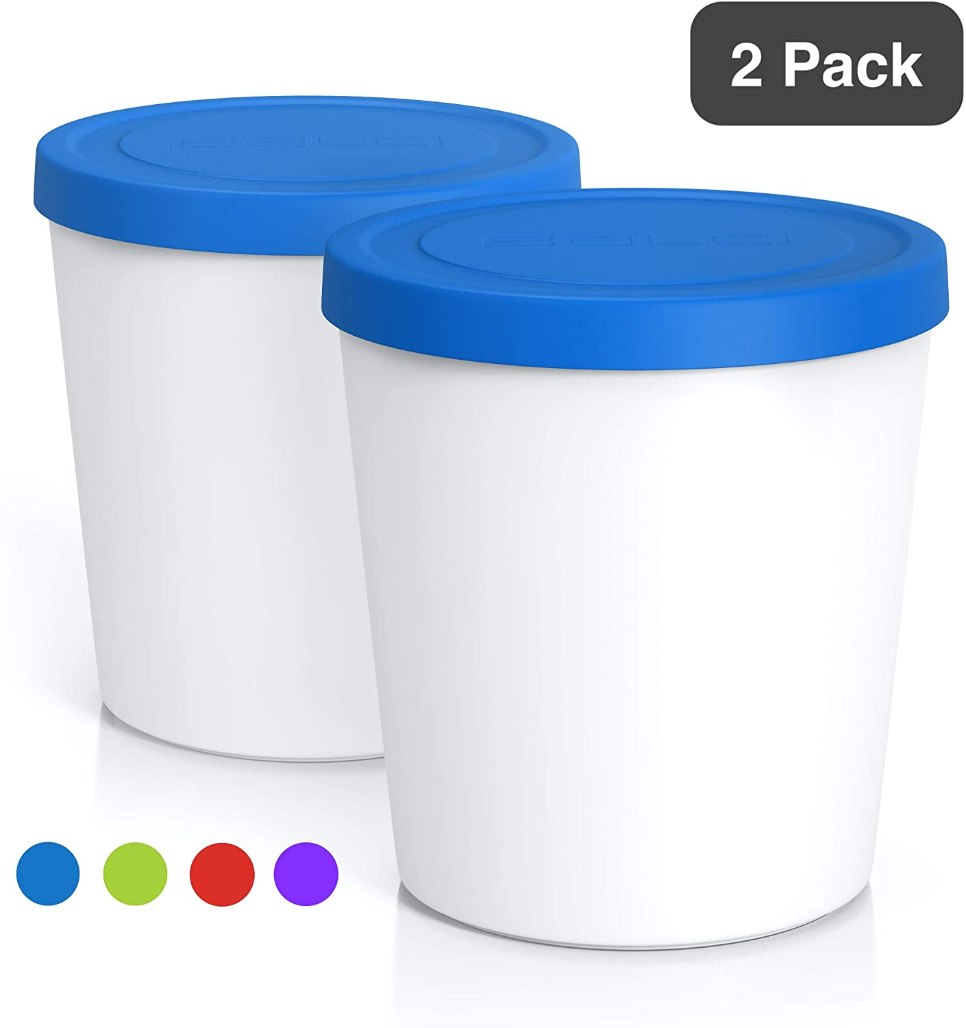 BALCI Freezer Storage Tub & Ice Cream Container, 2-Pack