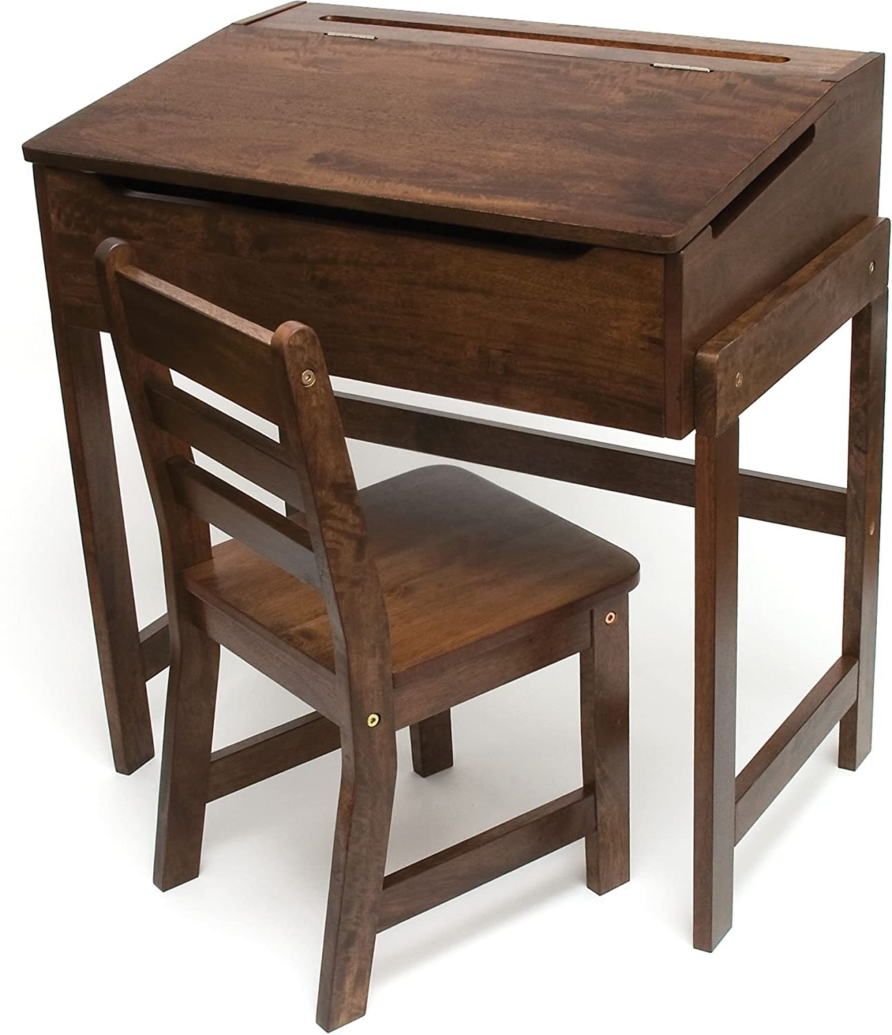 Lipper International Children's Slanted Walnut Top Desk & Chair