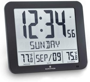 Marathon Slim Atomic Wall Clock with Temperature