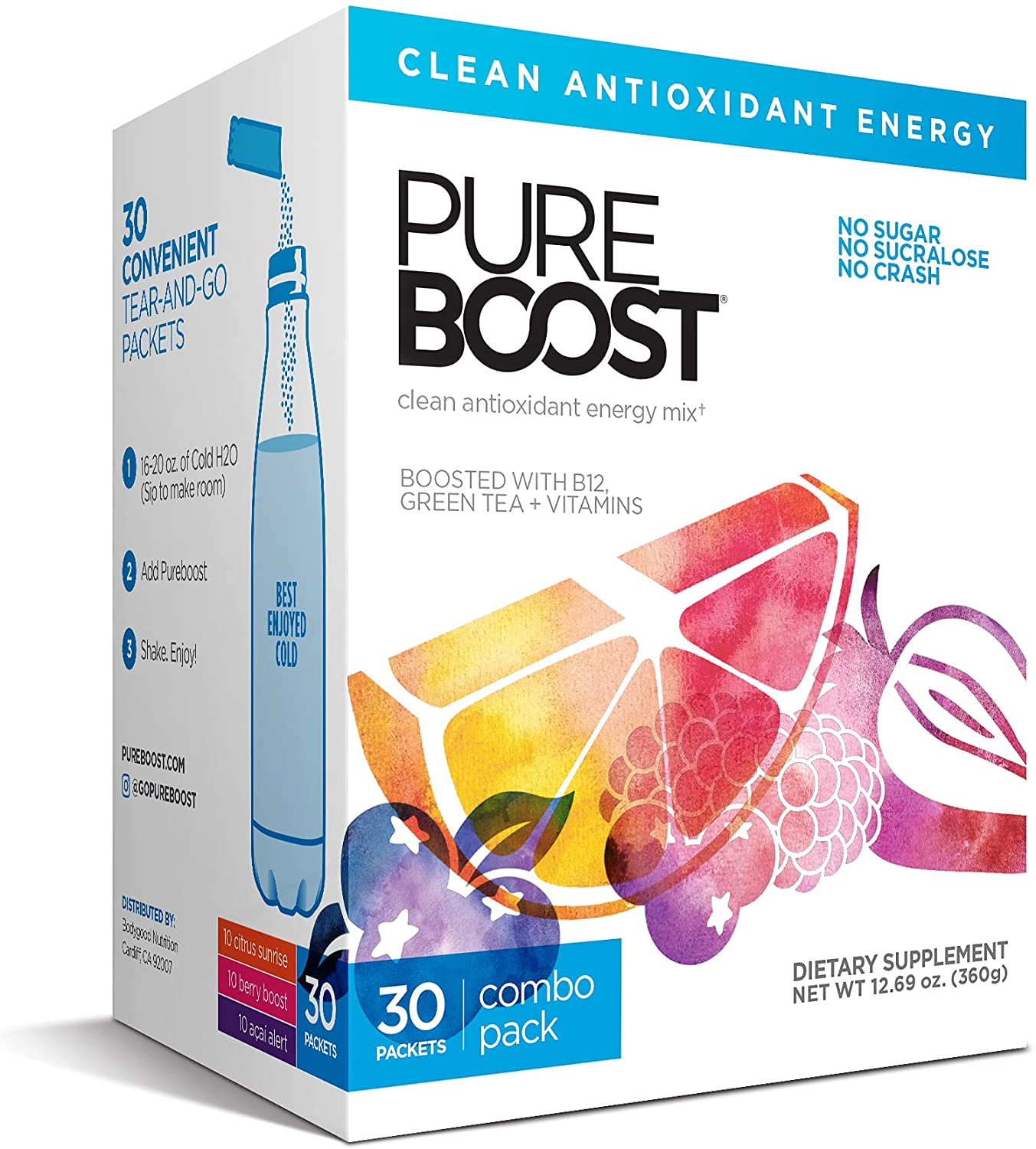 Pureboost Clean Energy Drink Mix / Water Enhancement, 30 Count