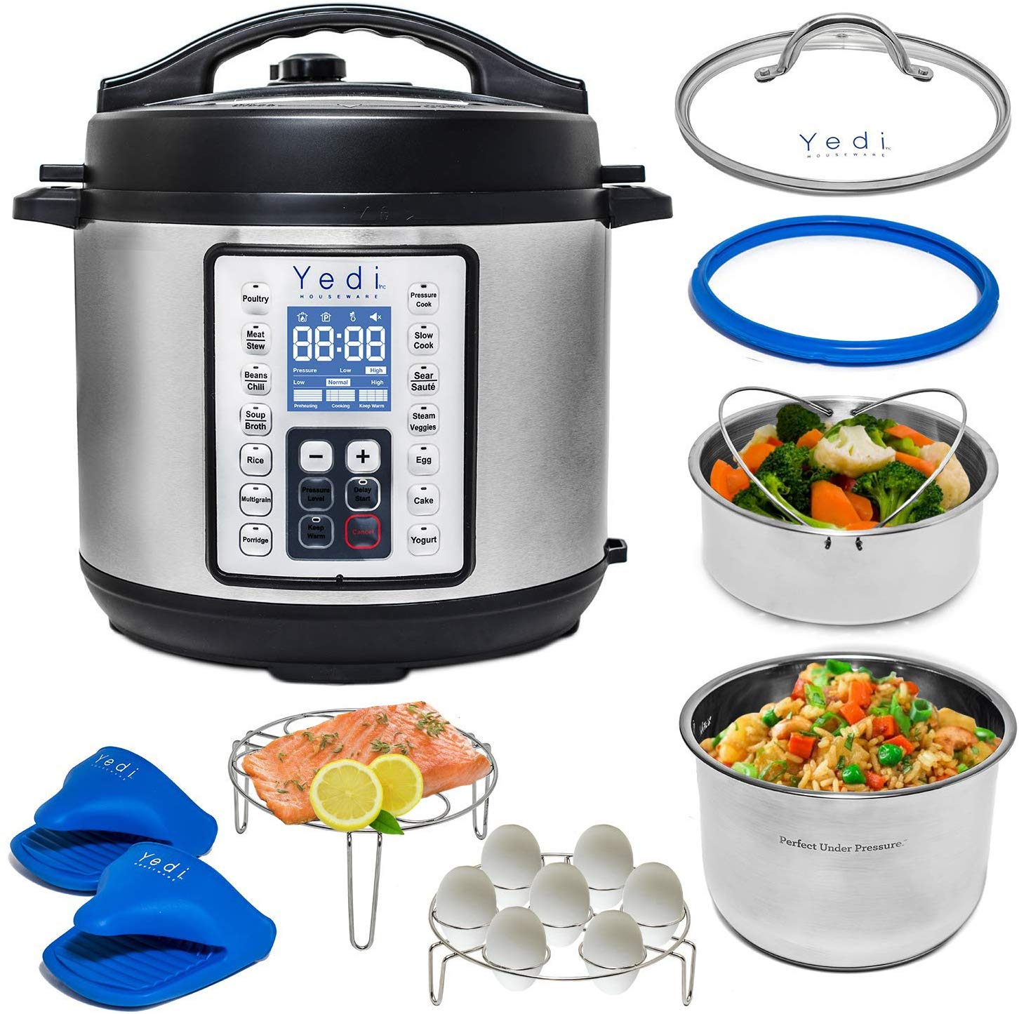Yedi Houseware 9-in-1 Programmable Pressure Cooker, 8-Quart