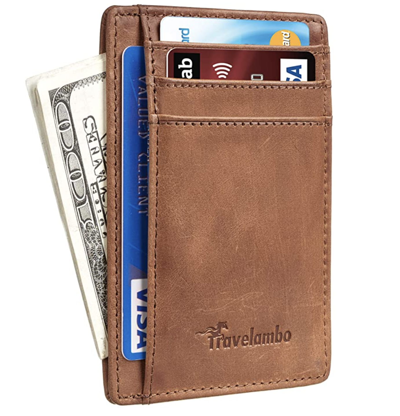 Travelambo Vintage Front Pocket Minimalist Leather Slim RFID Wallet
