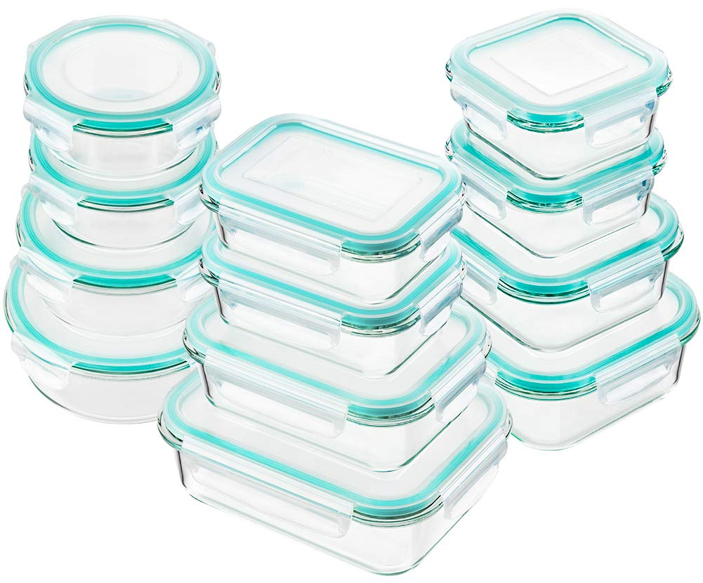 Bayco Glass Food Storage Containers with Lids, Set of 12