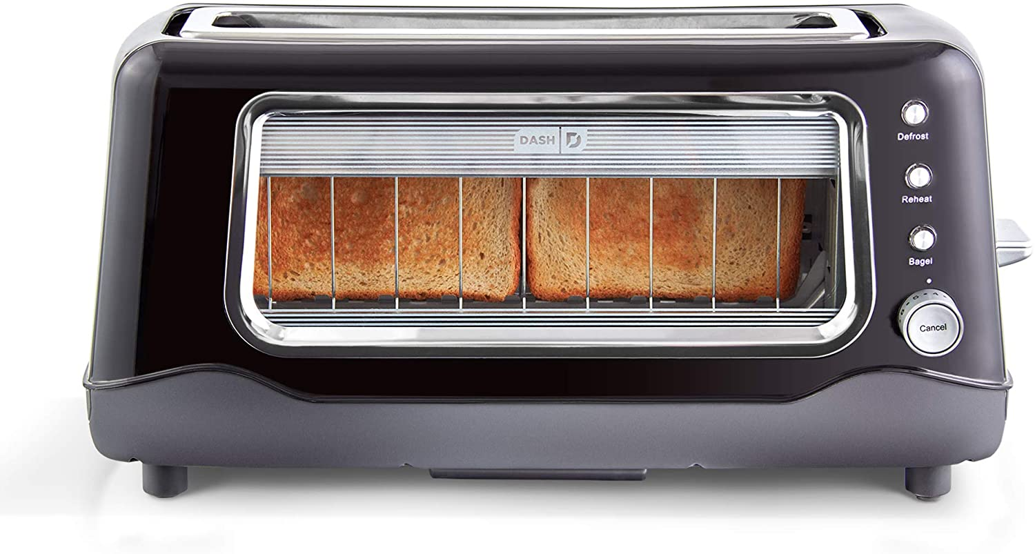Dash Wide-Slot Clear Window Toaster, 2-Slice
