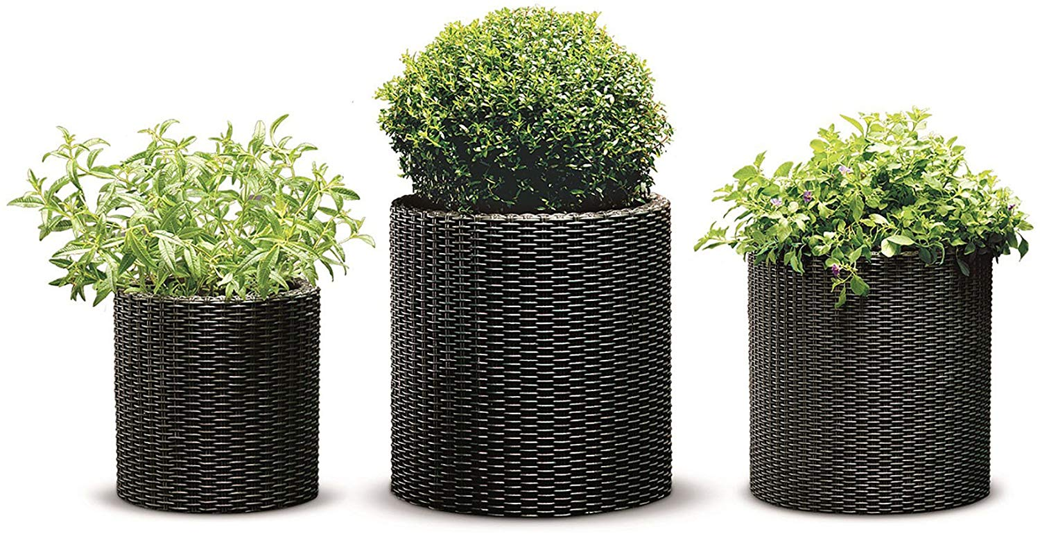 Keter Rattan Planters, Set of 3