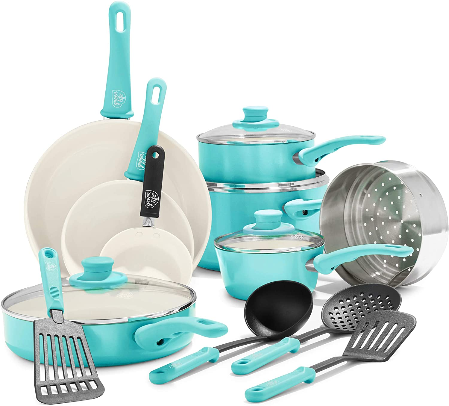GreenLife Ceramic Nonstick Cookware Set, 16-Piece