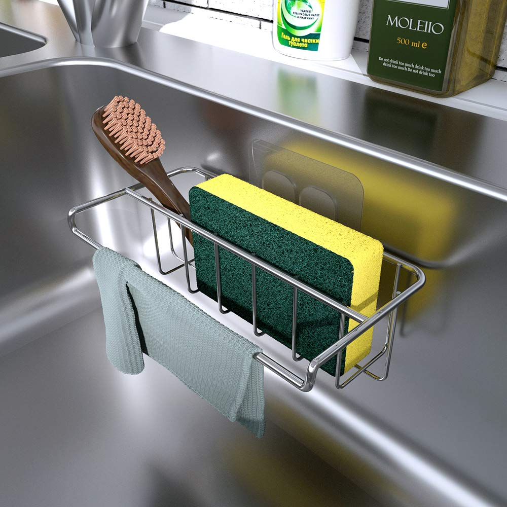KINCMAX Sink Organizer Sponge Holder & Dish Cloth Hanger