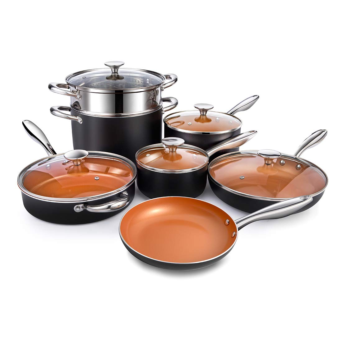 MICHELANGELO Nonstick Copper Pots and Pans Set, 12-Piece