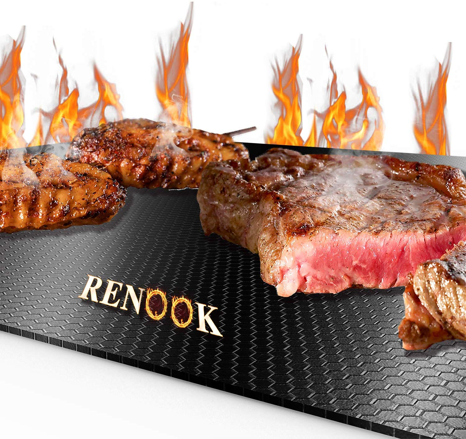 RENOOK 600 Degree Non-Stick Grill Mat, Set of 2