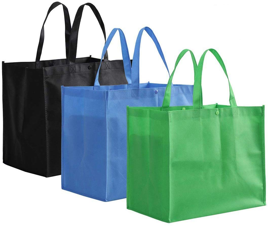 Tosnail Foldable Reusable Grocery Tote Bags, 12-Pack