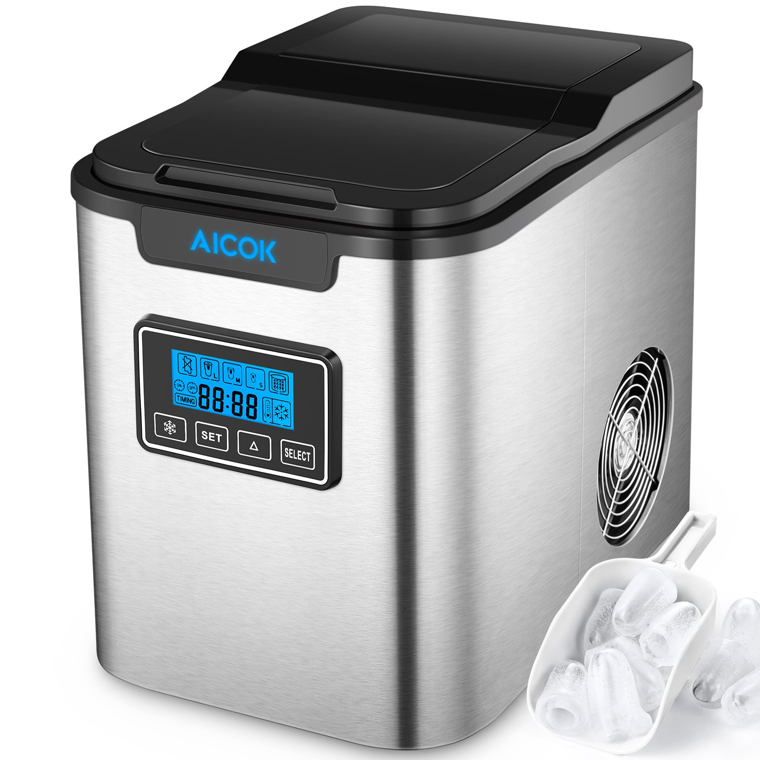 AICOK Self-Clean Portable Countertop Ice Maker Machine With Ice Scoop And Basket