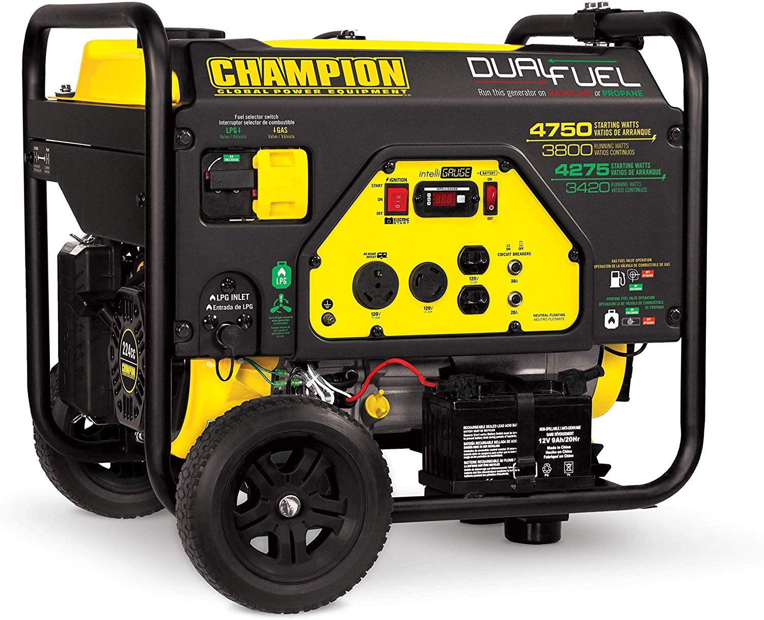 Champion Dual Fuel Electric Start Portable Generator, 3800-Watt