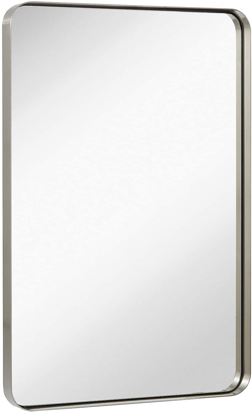 Hamilton Hills Contemporary Deep Set Brushed Metal Wall Bath Mirror