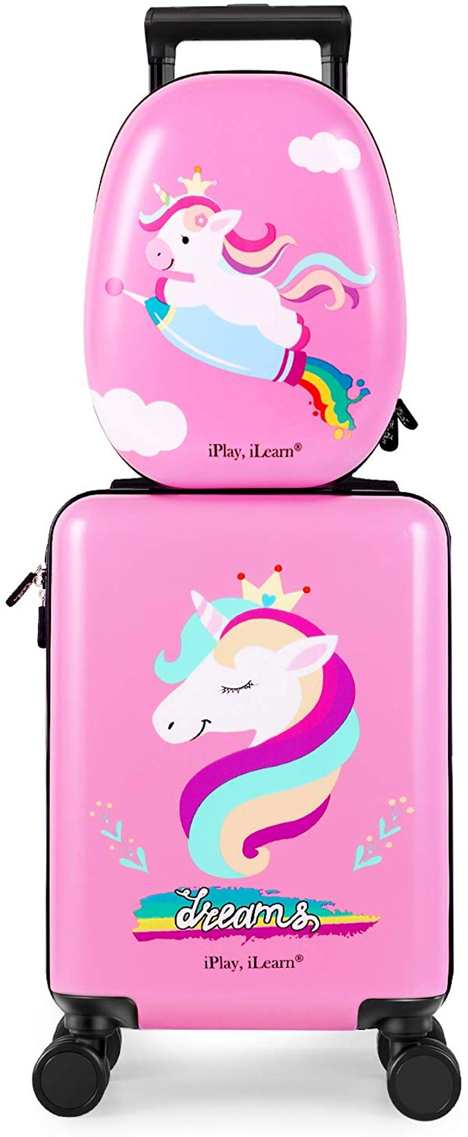 iPlay, iLearn Unicorn Carry On Spinner Wheels Travel Kids Luggage Set