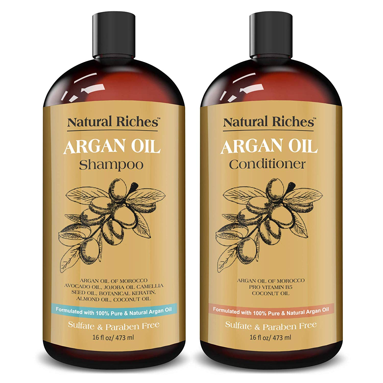 Natural Riches Moroccan Argan Oil Organic Shampoo & Conditioner Set