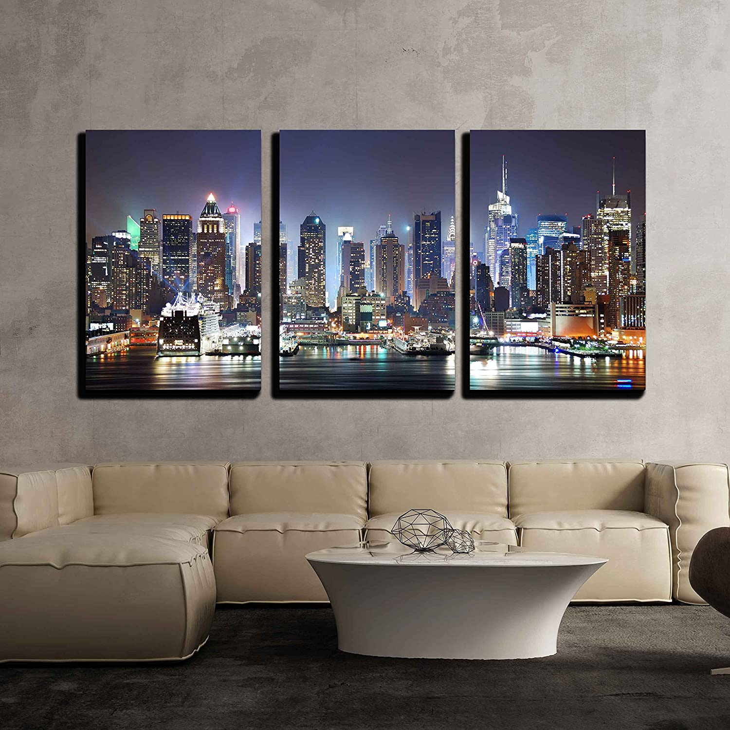 wall26 Manhattan Skyline Canvas Wall Art, 3-Piece