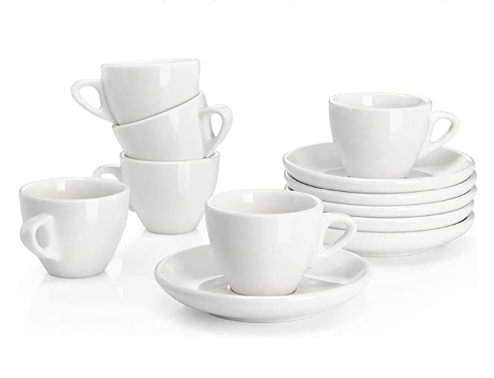 Sweese Porcelain Saucers & Espresso Cup, Set Of 6
