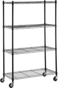 AmazonBasics Wheel Castered Shelving Storage, 4-Shelves