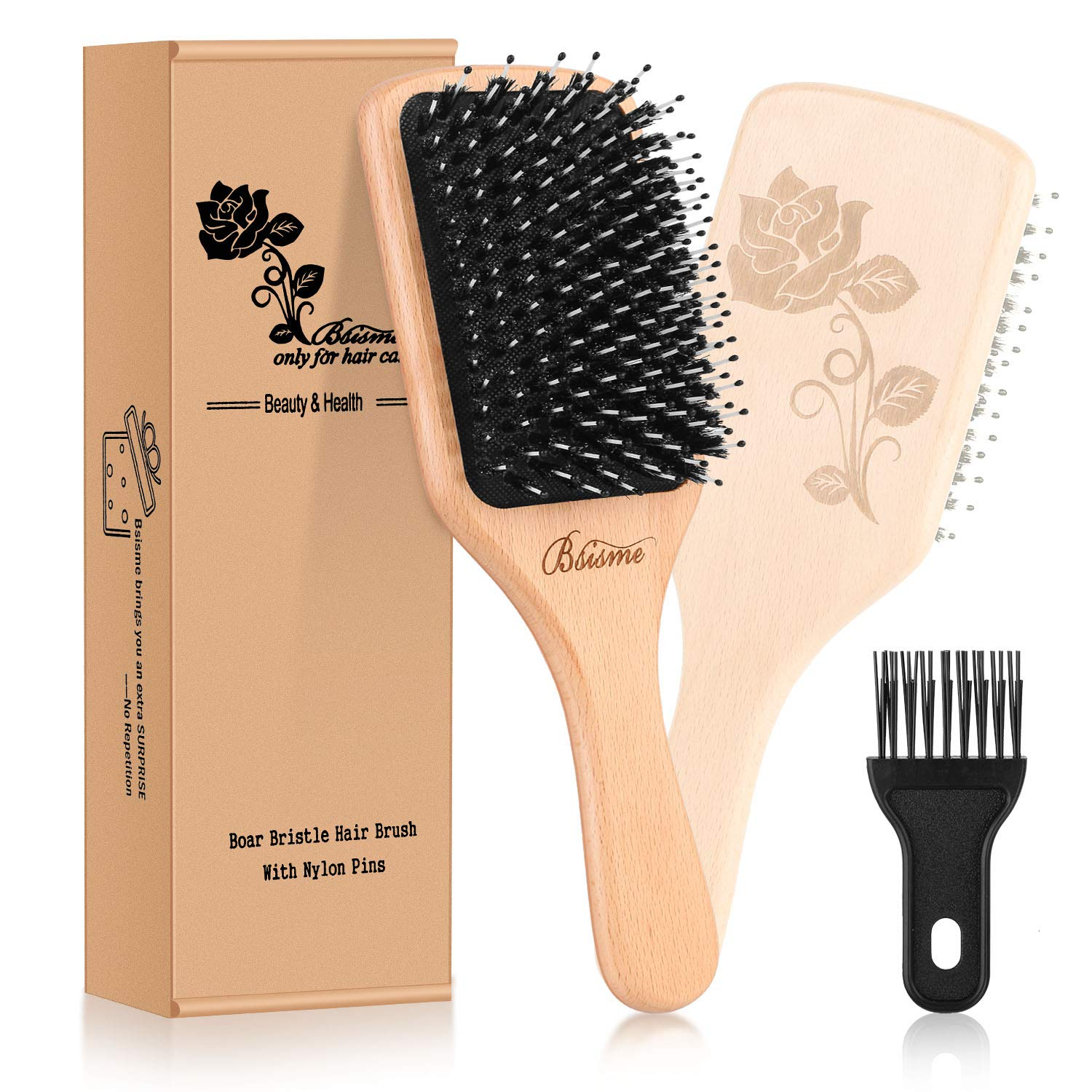 Bsisme Boar Bristle Detangling Paddle Brush