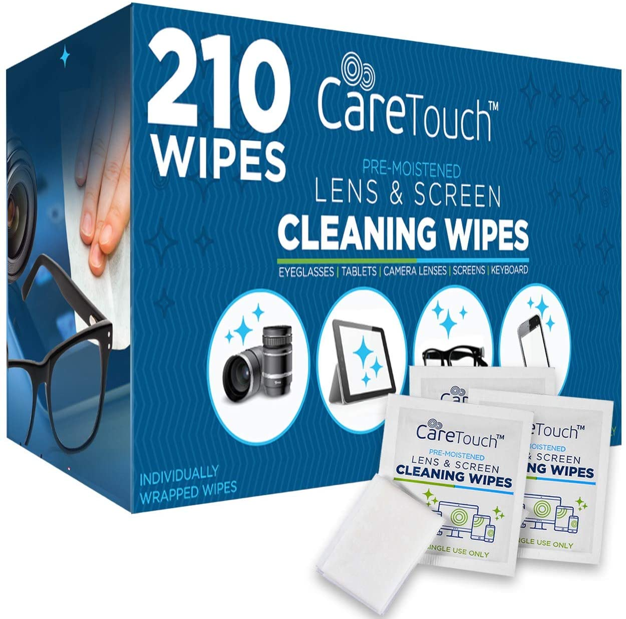 Care Touch Pre-Moistened Lens Cleaning Cloths, 210-Count