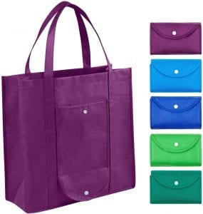 CleverFect Eco-Friendly Washable & Reusable Folding Shopping Bag, 5-Piece