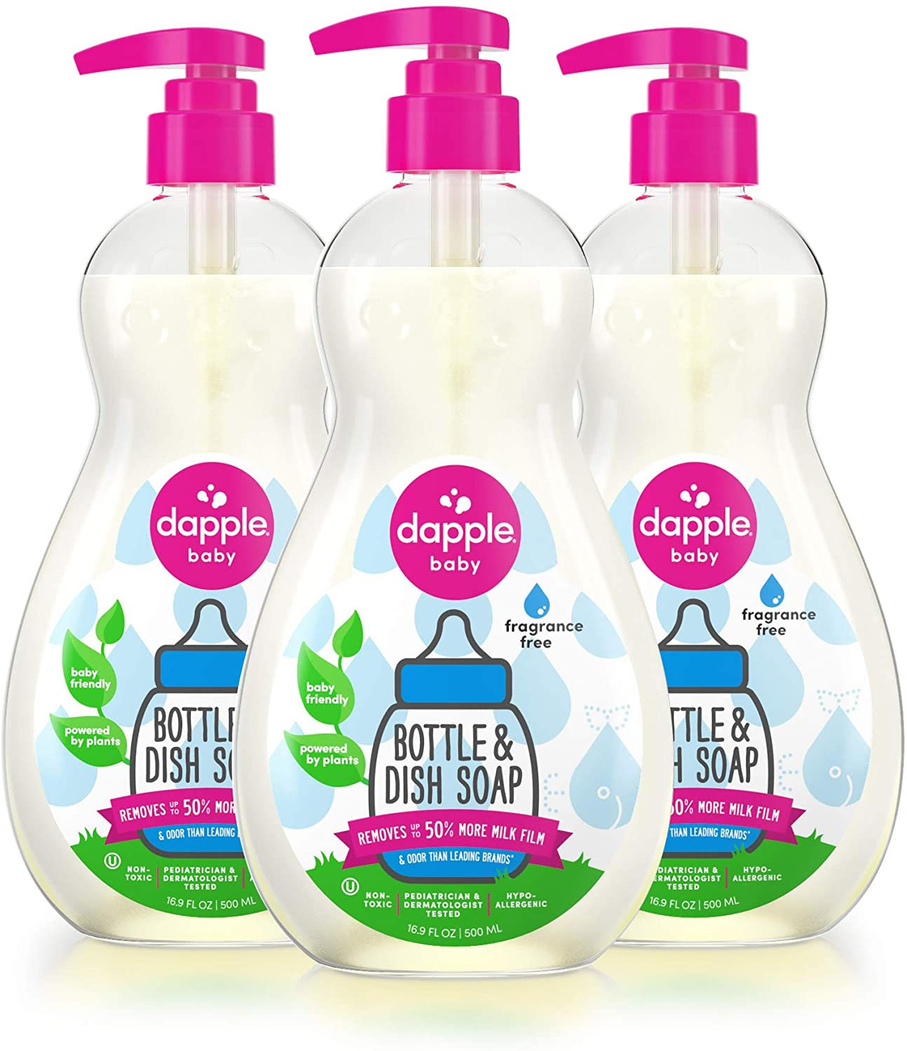 DAPPLE Baby Fragrance Free Baby Bottle and Dish Soap, 3-Pack