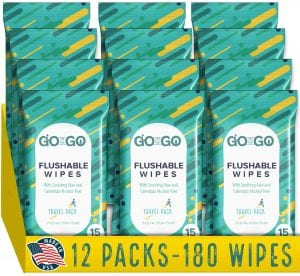 Go On The Go Flushable Alcohol-Free Wet Wipes For Adults, 180-Count