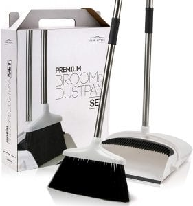 Jade Active Premium Upright Lightweight Standing Broom & Dustpan Set