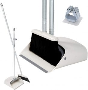 JEHONN Upright Long Handle Broom Holder & Dustpan Set