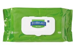 Medline FitRight Unscented Aloe Cleansing Wet Wipes For Adults, 6-Pack