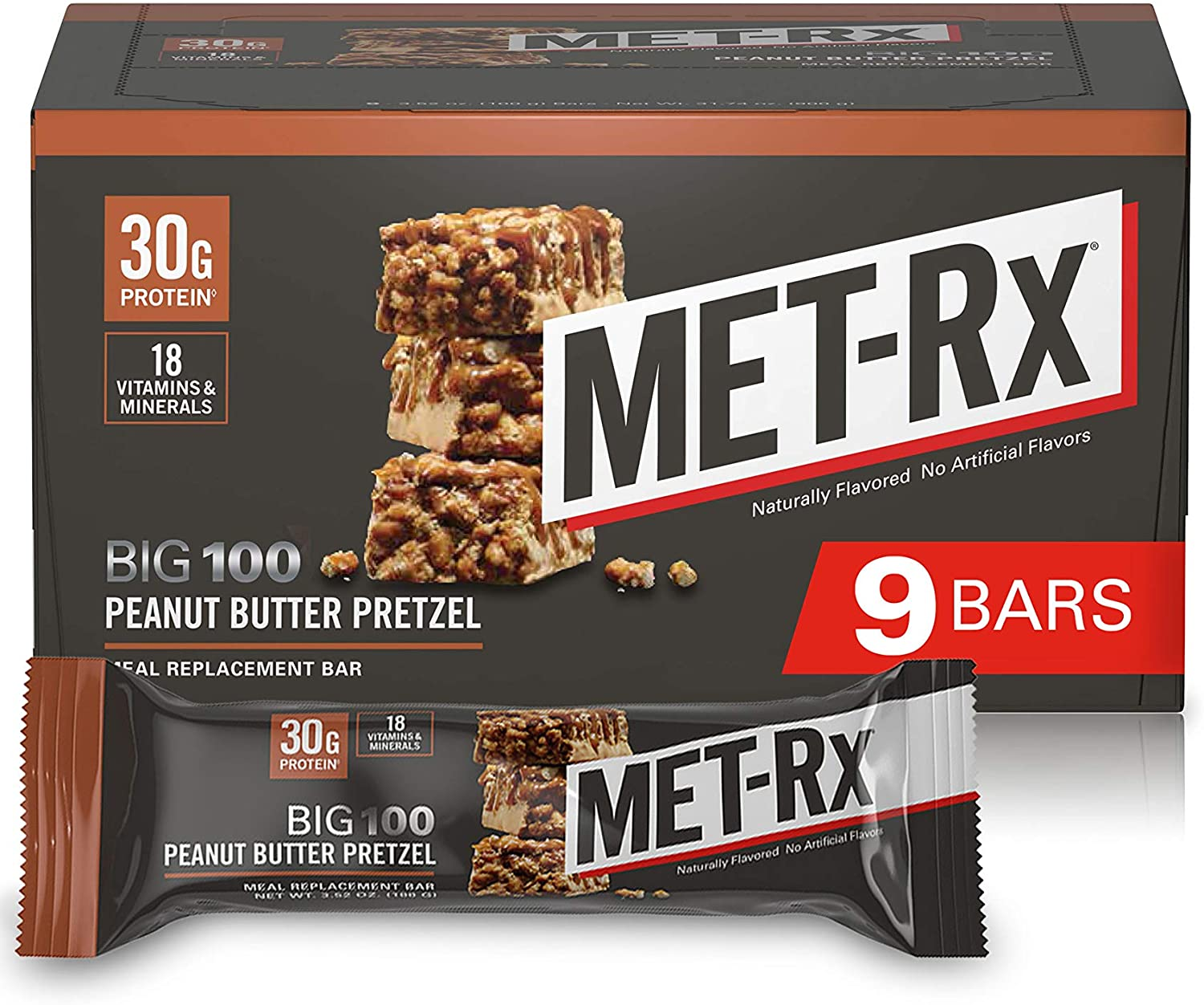 MET-Rx Big 100 Meal Replacement Bars, Peanut Butter Pretzel