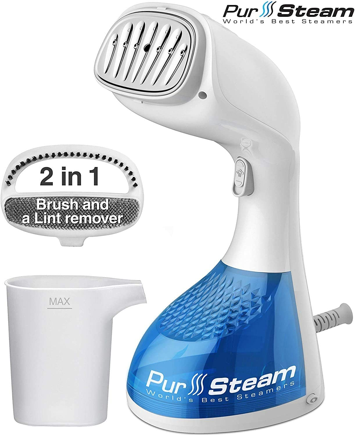 PurSteam 1400-Watt Steamer With 2-In-1 Brush