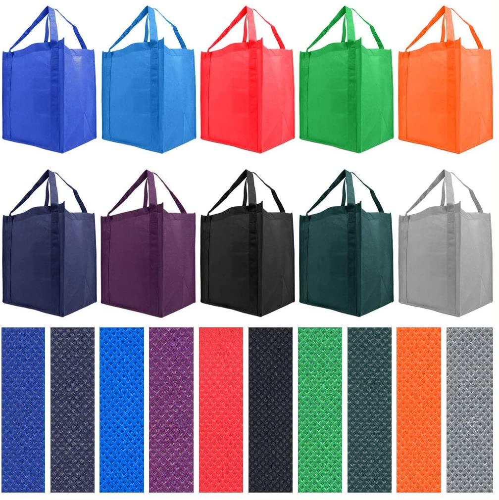 Simply Green Reusable Reinforced Grocery Tote Bag, 10-Pack